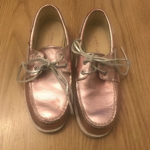 Rose gold pink Sperry, size 5 (Girls)